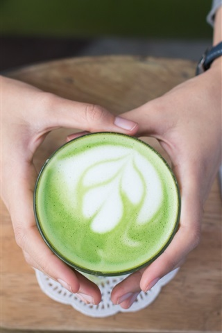 iPhone Wallpaper Coffee, mint leaf shapes, foam, hands