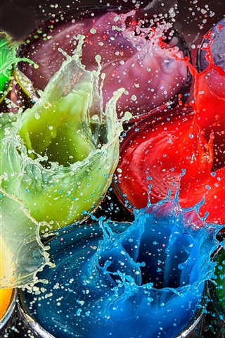 iPhone Wallpaper Colorful paint splash, high speed photography