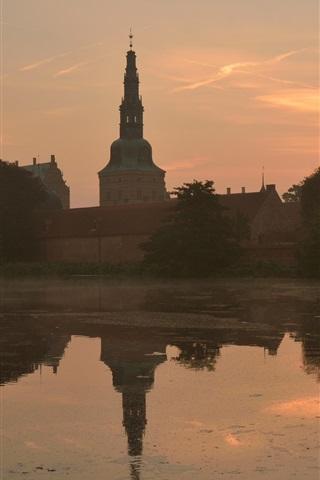 iPhone Wallpaper Denmark, haze, river, city, morning