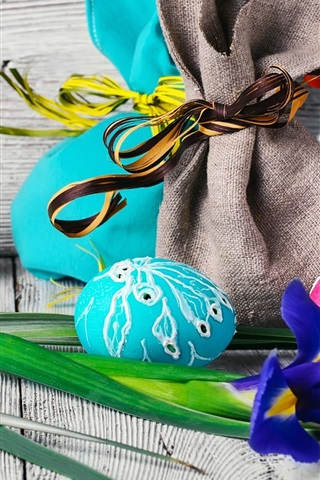 iPhone Wallpaper Easter, iris flower, colorful eggs