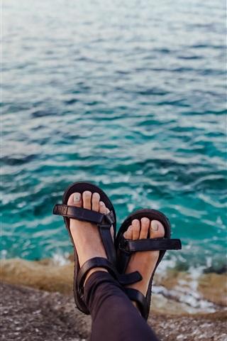 iPhone Wallpaper Feet, sea, coast