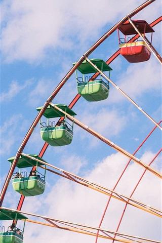 iPhone Wallpaper Ferris wheel, sky, clouds
