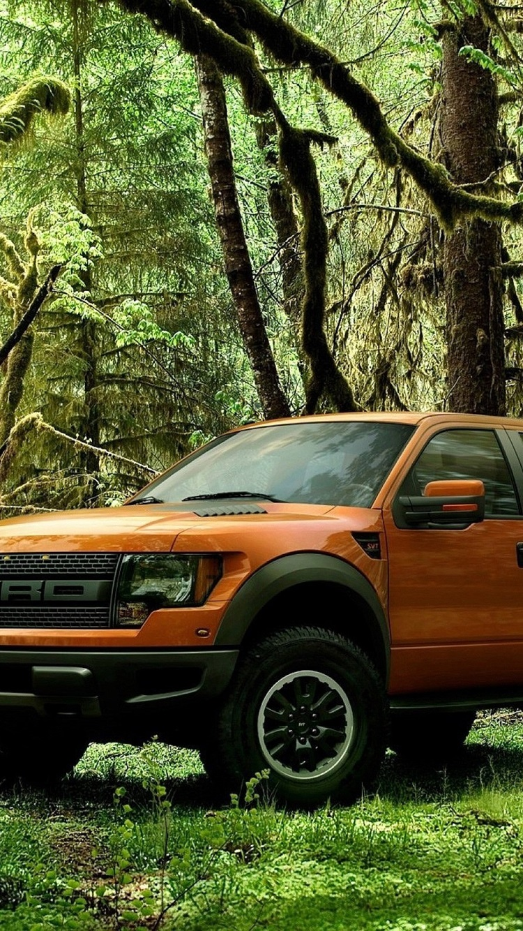 Ford Raptor orange pickup in the forest 750x1334 iPhone 8/7