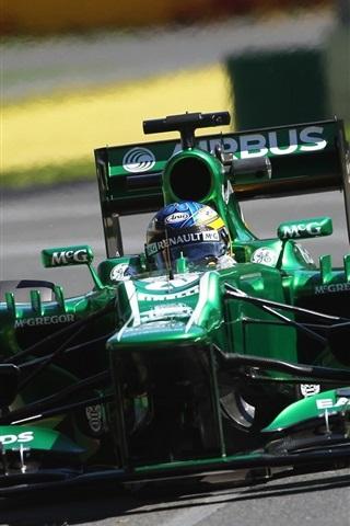 iPhone Wallpaper Formula 1 car speed, green color