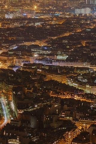 iPhone Wallpaper France, Paris, city night, top view, buildings, lights