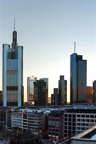 iPhone Wallpaper Frankfurt, Germany, city, skyscrapers, roads, dusk