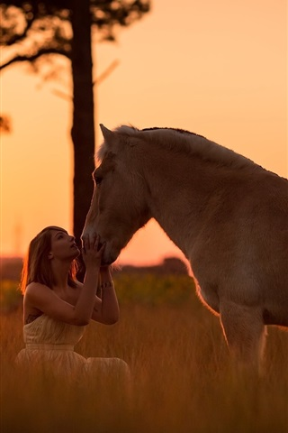 iPhone Wallpaper Girl and horse at sunset
