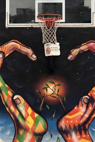 iPhone Wallpaper Graffiti, hands, basketball net, creative