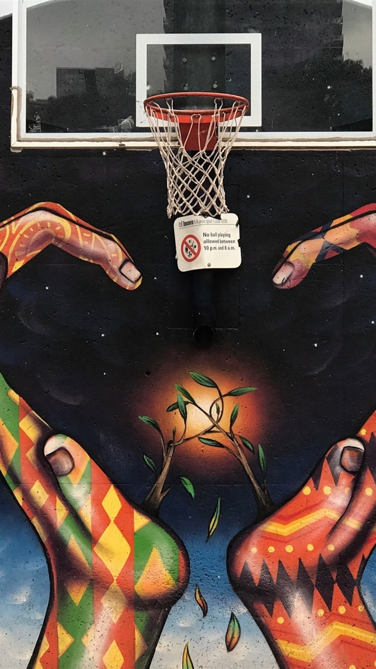 Graffiti Hands Basketball Net Creative 750x1334 Iphone 8 7 6 6s