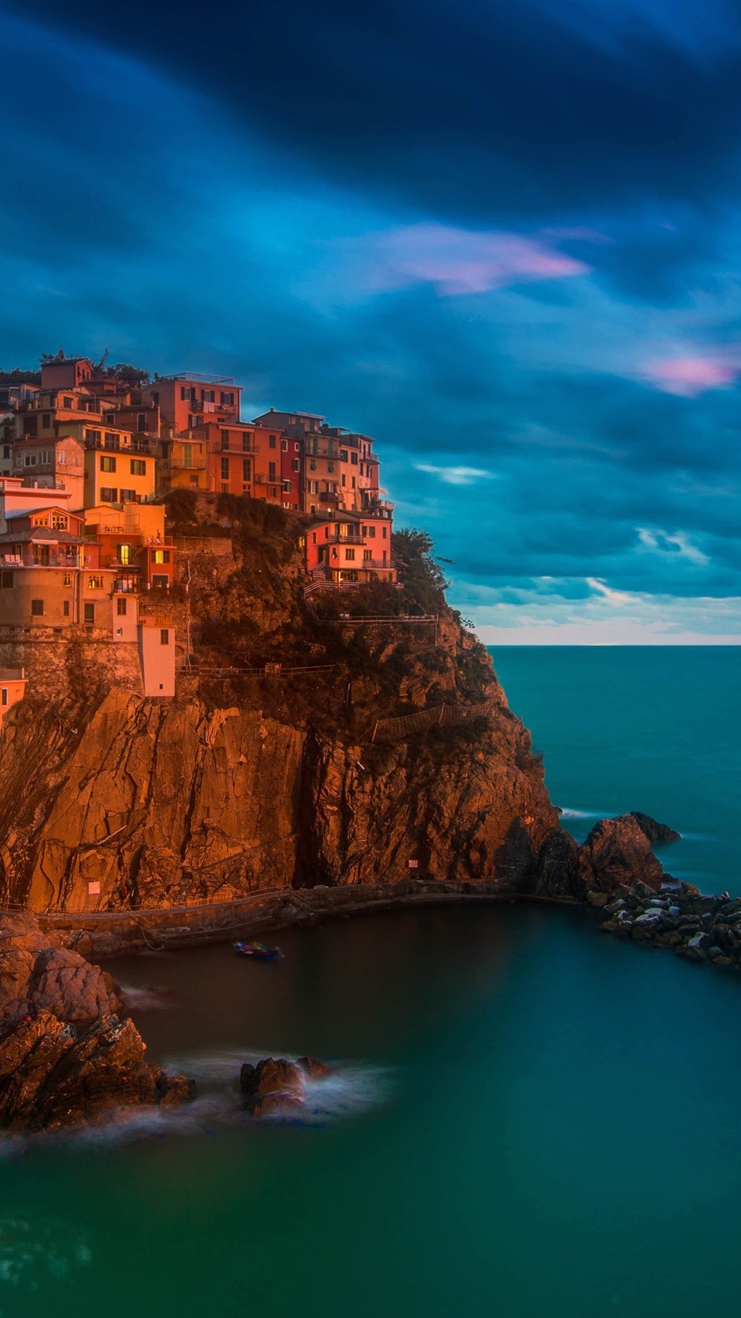Italy Manarola Cinque Terre Sea Night Lights 1080x1920