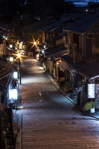 iPhone Wallpaper Japan, Kyoto, street, night, lights, old town