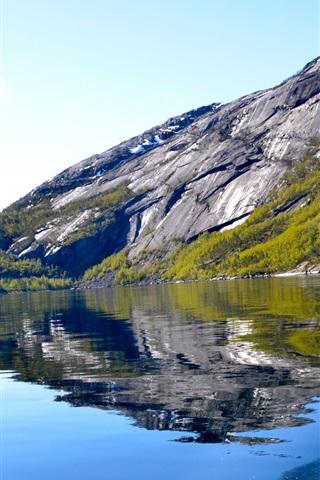 iPhone Papéis de Parede Lago, montanha, navio