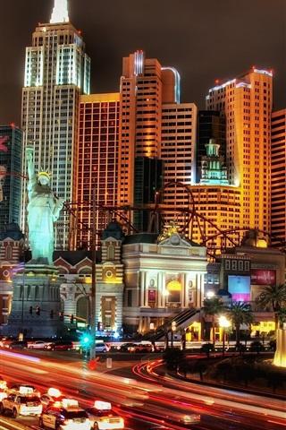 iPhone Wallpaper Las Vegas, city, night, skyscrapers, lights, USA