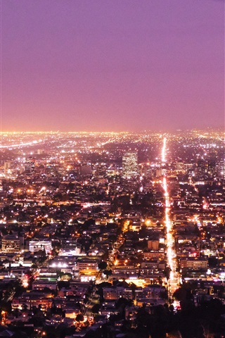 Los Angeles City Night Lights Top View Usa 1080x1920