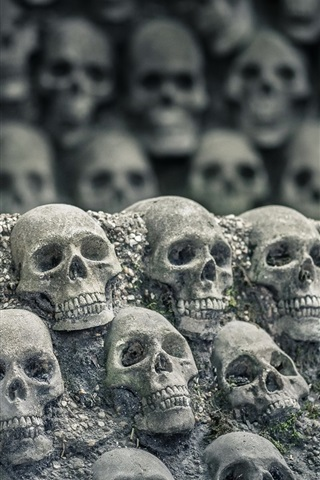 iPhone Wallpaper Many skulls, darkness world