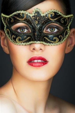 iPhone Wallpaper Mask girl, brown eyes, red lips