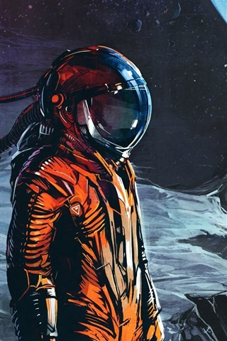 iPhone Wallpaper Moon, planet, astronaut, art picture