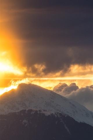 iPhone Wallpaper Mountain, cloud, sunrise, snow
