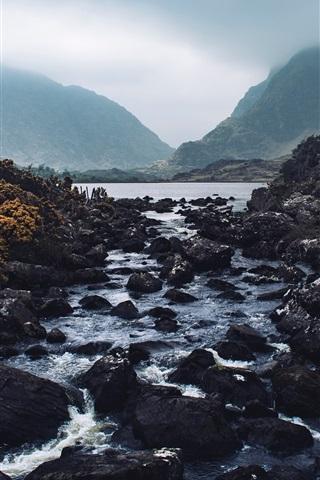 iPhone Wallpaper Mountains, stones, river, dusk