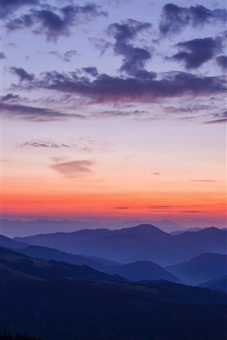 iPhone Wallpaper Mountains, sunset, sky, clouds, nature landscape
