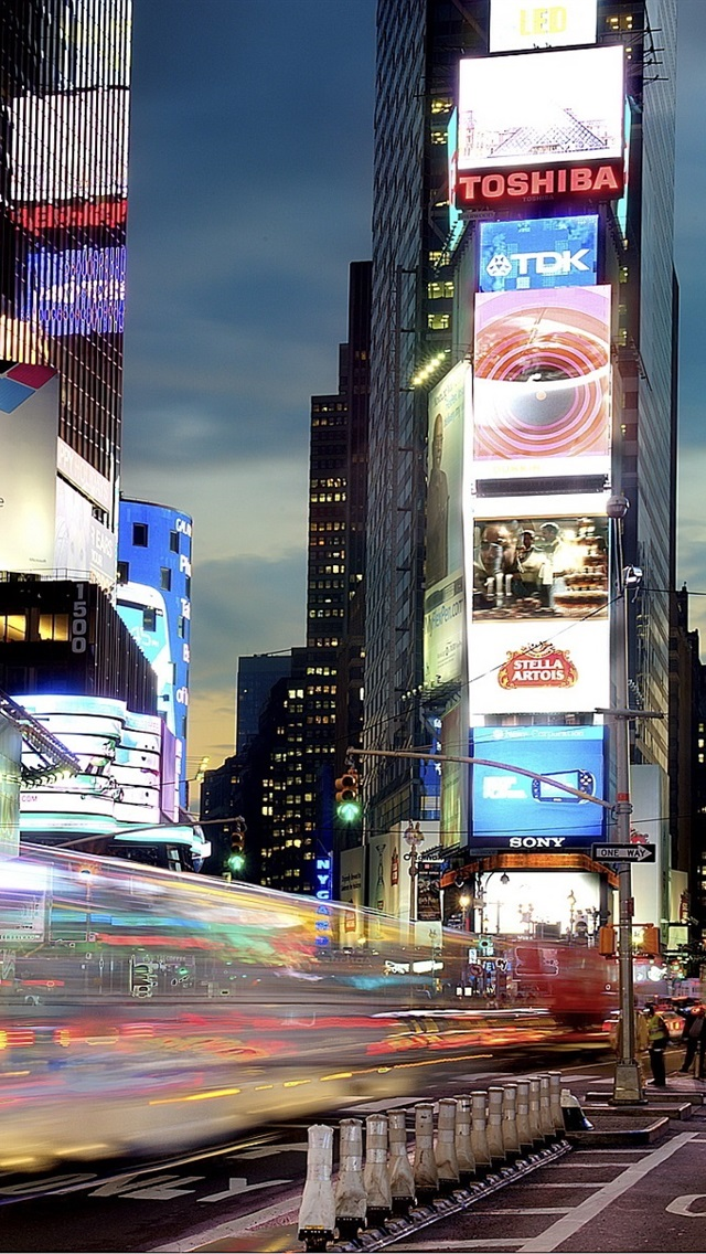 New York Times Square At Night Lights 640x1136 Iphone 55s