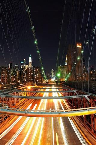 iPhone Wallpaper New York, city, bridge, lights, skyscrapers, USA