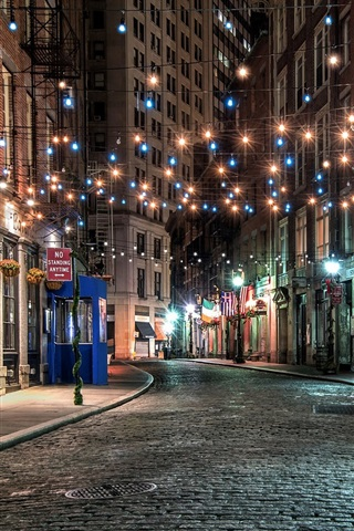 New York Old Town Street Colorful Lights Night Usa 640x1136 Iphone 5 5s 5c Se Wallpaper Background Picture Image