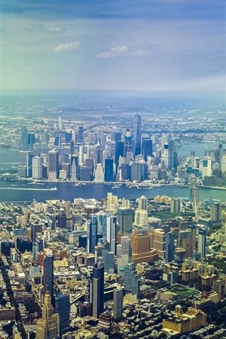 iPhone Wallpaper New York, skyscrapers, panorama, top view
