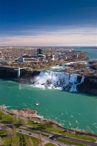 iPhone Wallpaper Niagara Falls, Canada, Ontario, bridge, river, city
