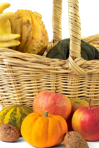 iPhone Wallpaper Nuts, pumpkin, apples, autumn, basket, still life, white background