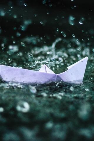iPhone Wallpaper Origami boat, water splash