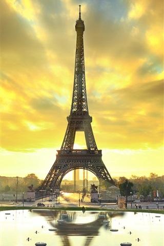 iPhone Wallpaper Paris, Eiffel tower, city, water, autumn, sunrise