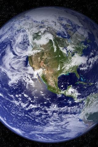 iPhone Обои Земля планеты, облака, континенты, вселенная