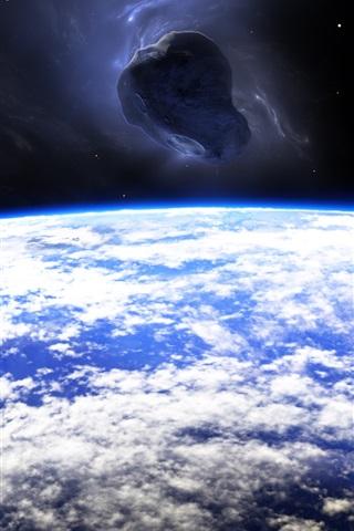 Planet Earth Meteorite Space 1080x1920 Iphone 8 7 6 6s Plus