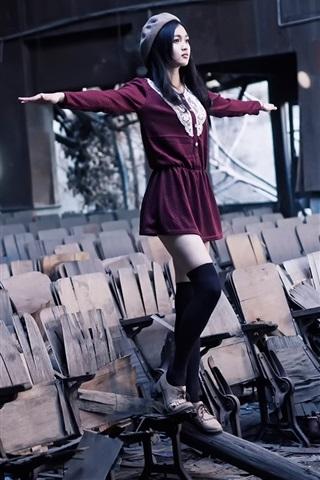 iPhone Wallpaper Purple skirt Asian girl, balance, broken chairs
