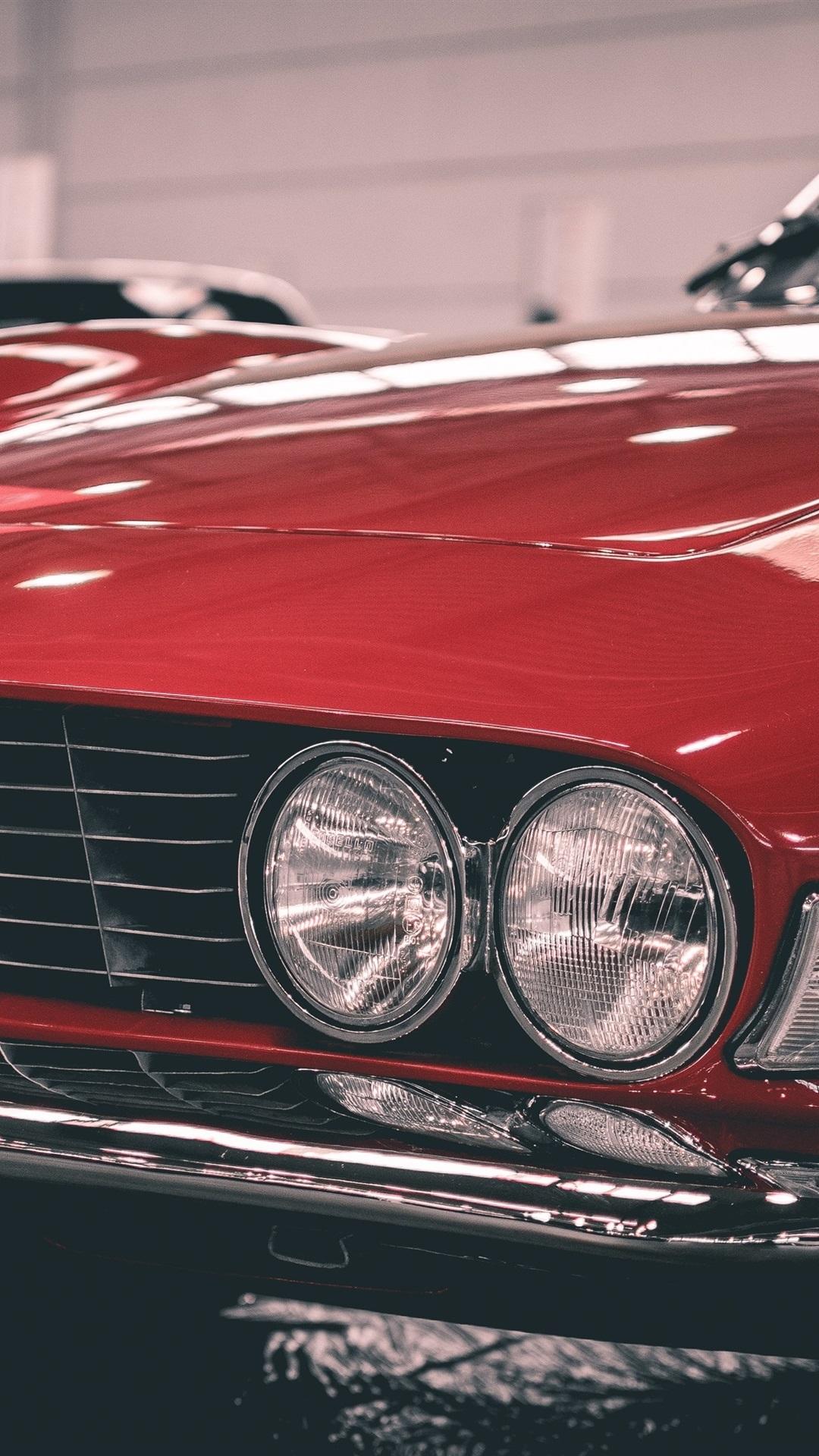レトロな赤い車の正面図 フィアット 1080x1920 Iphone 8 7 6 6s Plus