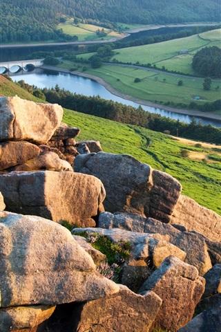iPhone Wallpaper Rocks, hill, river, fields