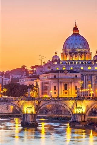 iPhone Wallpaper Rome, Italy, bridge, river, city, evening, lights, buildings
