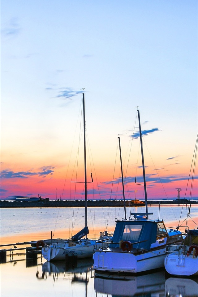 Sea Boats Sunset 750x1334 Iphone 8 7 6 6s Wallpaper