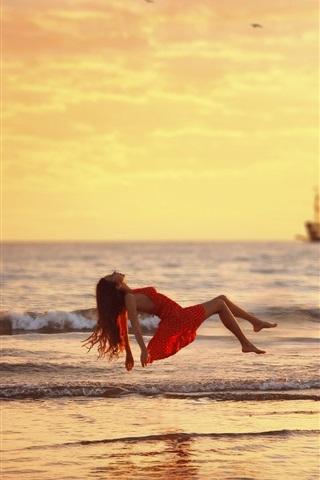 iPhone Wallpaper Sea, waves, red dress girl float