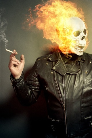 iPhone Wallpaper Skull, fire, people, cigarette, creative picture