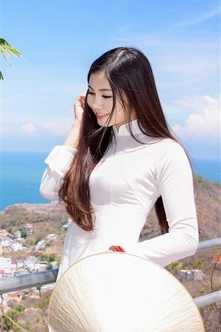 iPhone Wallpaper Smile Asian girl, hair, white dress, walk