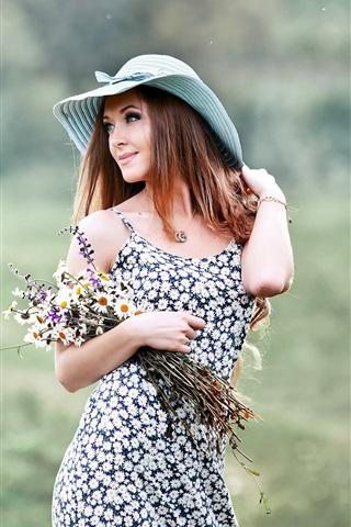 iPhone Wallpaper Smile girl, hat, flowers