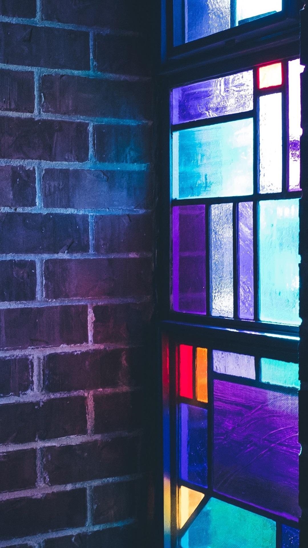 ステンドグラス カラフル 窓 壁 1080x19 Iphone 8 7 6 6s Plus 壁紙 背景 画像