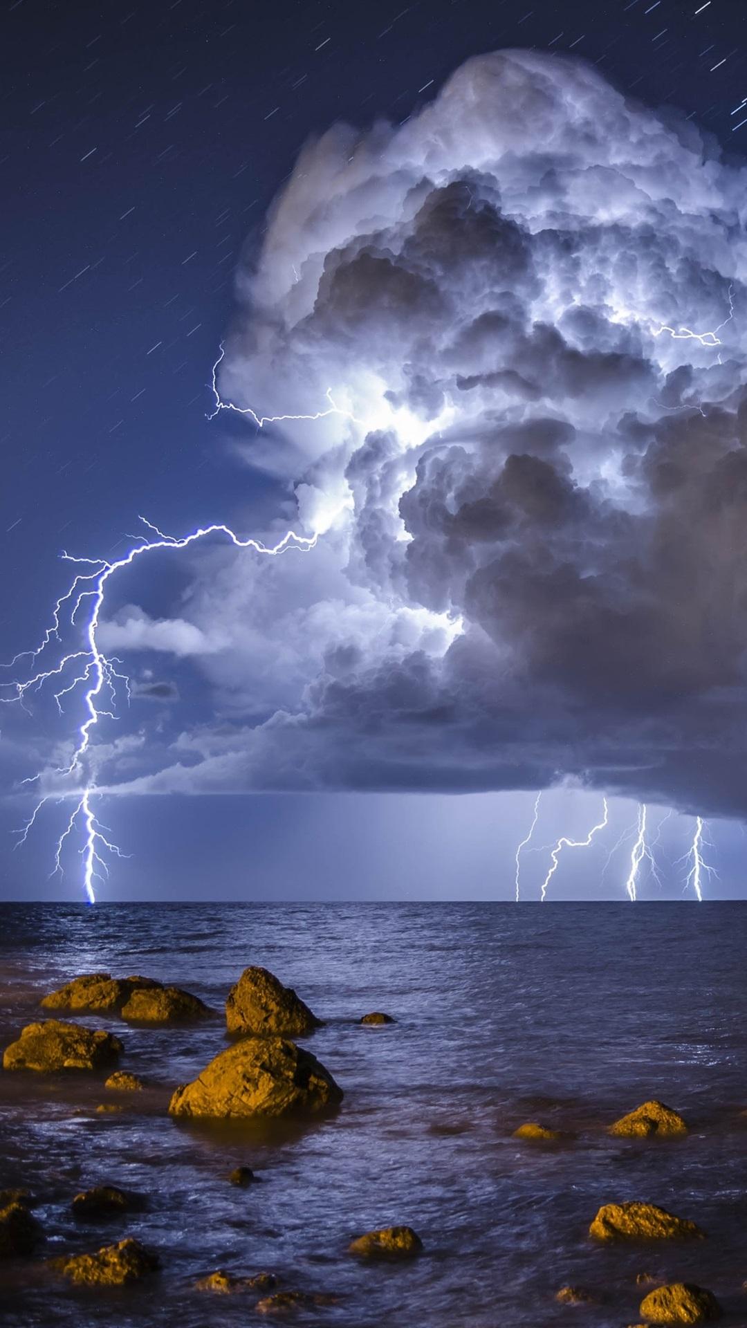 Storm Lightning Sea Stones 1080x1920 Iphone 8 7 6 6s Plus