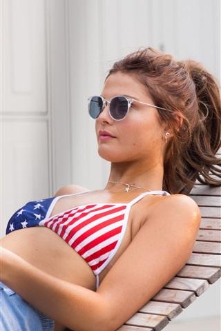 iPhone Wallpaper Summer girl, bra, sexy, chaise, sunglass