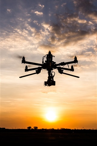 iPhone Wallpaper Sunset, sky, clouds, drone