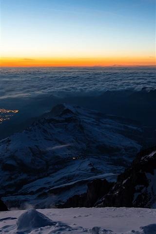 iPhone Wallpaper Switzerland, valley, snow, mountains, top view, Jungfraujoch, Bernese Alps