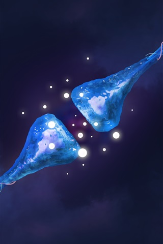 iPhone Wallpaper Synapses, neuronal, blue, light