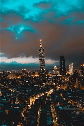 iPhone Wallpaper Taipei, Taiwan, city, skyscrapers, buildings, night, lights